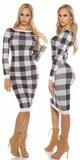 Dámske dlhé kockované (kárované) pletené šaty KouCla Biela