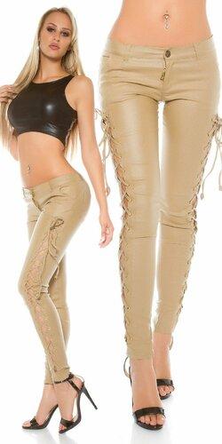 Kožené nohavice so šnurovaním po bokoch | Béžová