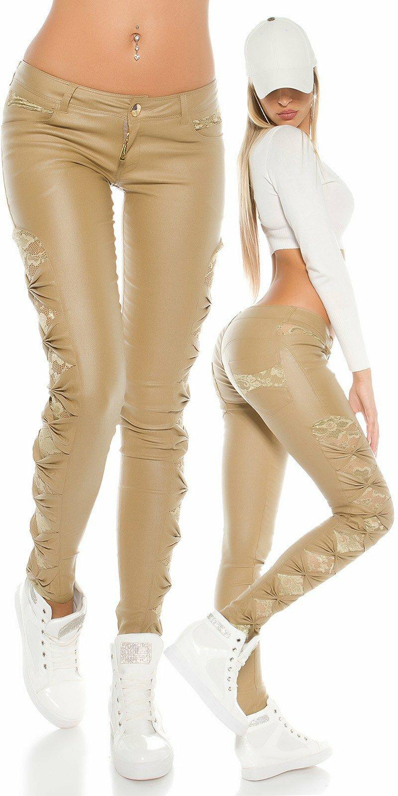 0a4eee6b074b KouCla dámske nohavice koženého vzhľadu s čipkou po bokoch  Veľkosť S Farba  Béžová