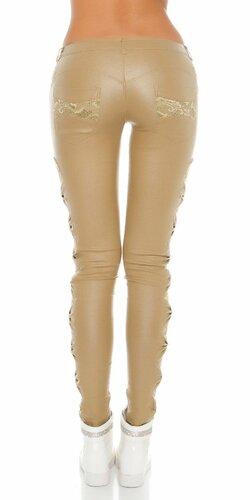 KouCla dámske nohavice koženého vzhľadu s čipkou po bokoch Béžová
