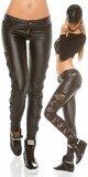 KouCla dámske nohavice koženého vzhľadu s čipkou po bokoch Čierna