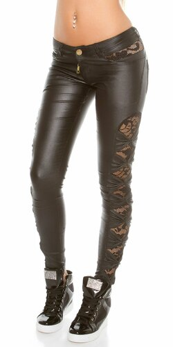 KouCla dámske nohavice koženého vzhľadu s čipkou po bokoch | Čierna