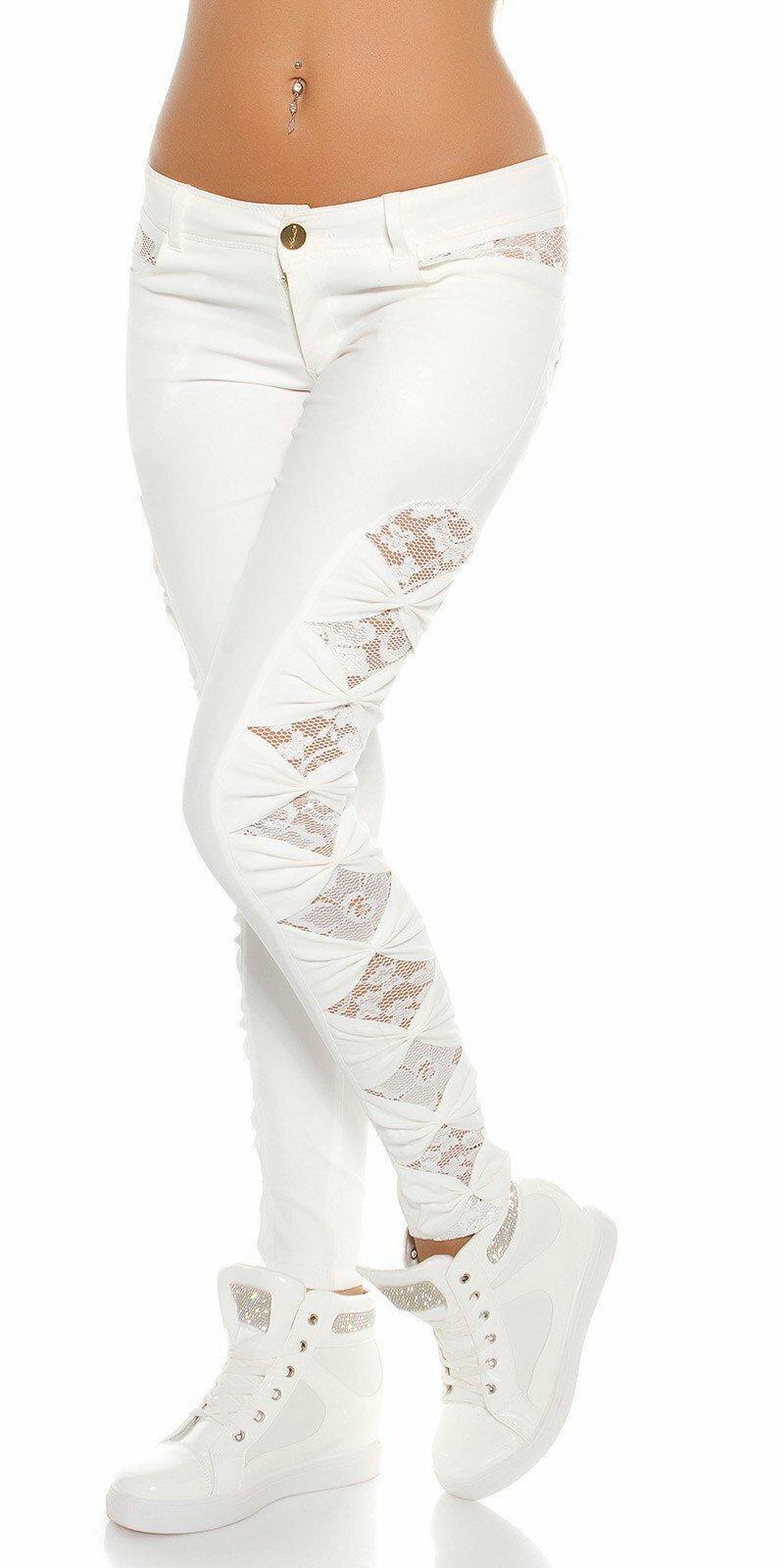 ... KouCla dámske nohavice koženého vzhľadu s čipkou po bokoch Biela ... dbb66cbaa9