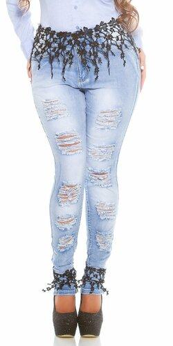Štýlové džínsy pre moletky s rozparkami a čipkou Čierna