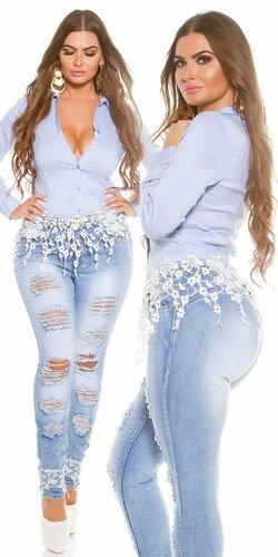 Štýlové džínsy pre moletky s rozparkami a čipkou (Biela)