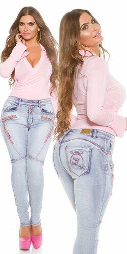 Dámske svetlé džínsy pre moletky KouCla