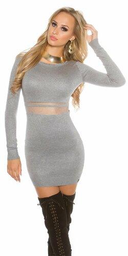 Dámske pletené mini šaty s priesvitným pásom | Šedá bledá