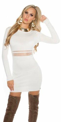 Dámske pletené mini šaty s priesvitným pásom | Biela
