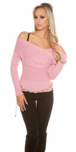 Dámsky sveter ,,Carmen,, s odhalenými ramenami (Bledá ružová)