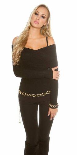 Dámsky sveter ,,Carmen,, s odhalenými ramenami (Čierna)