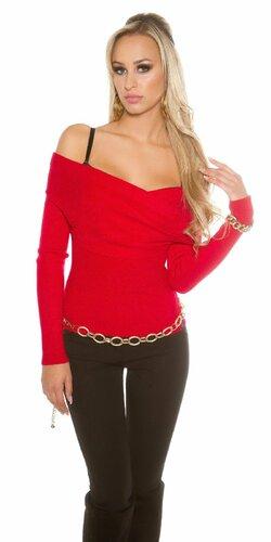 Dámsky sveter ,,Carmen,, s odhalenými ramenami (Červená)