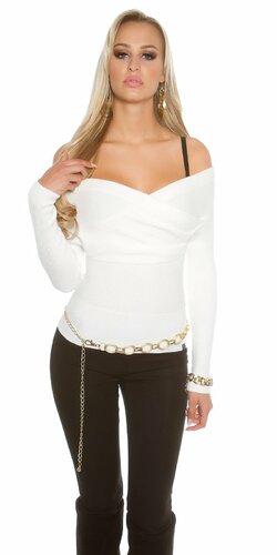 Dámsky sveter ,,Carmen,, s odhalenými ramenami (Biela)