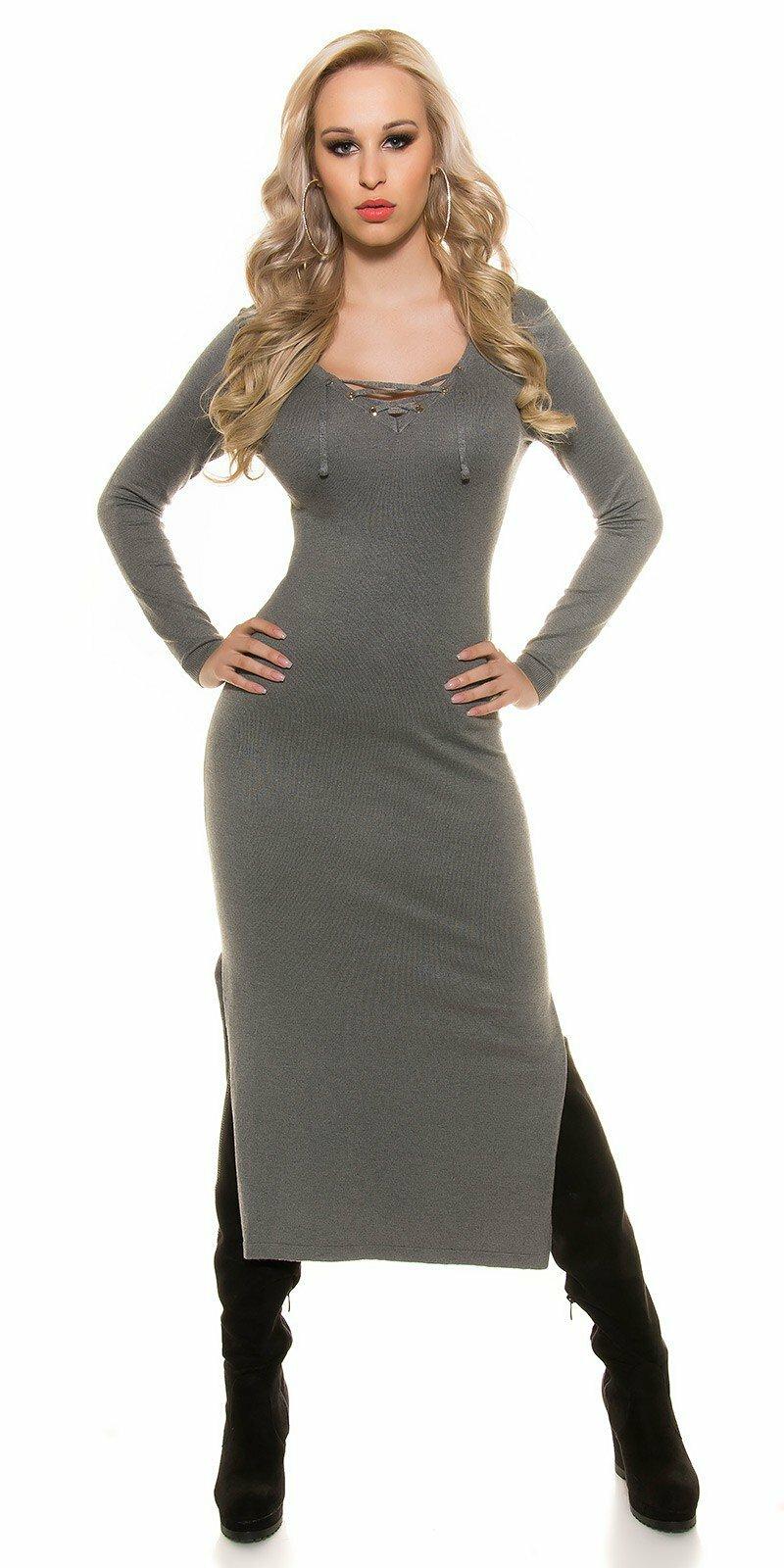 a969b2b2199b Dámske pletené maxi šaty s kapucňou KouCla  Veľkosť Univerzálna (XS S M