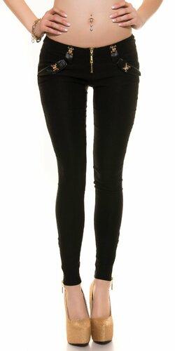 Dámske čierne nohavice s lebkami