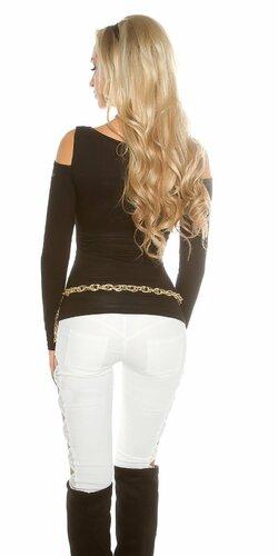 Dámsky svetrík s odhalenými ramenami Čierna