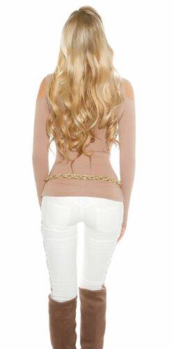 Dámsky svetrík s odhalenými ramenami Cappuccino