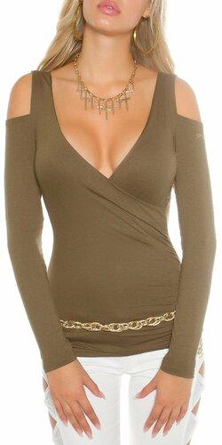 Dámsky svetrík s odhalenými ramenami | Khaky
