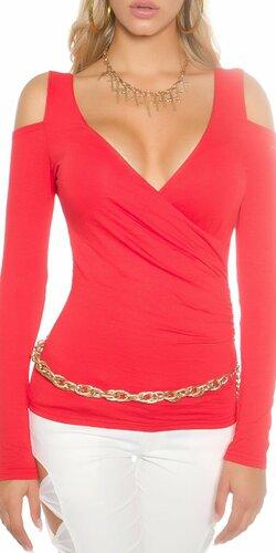 Dámsky svetrík s odhalenými ramenami Červená
