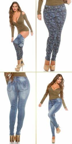Dámske obojstranné džínsy pre moletky KouCla