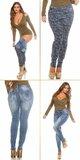 Dámske obojstranné džínsy pre moletky KouCla Modrá