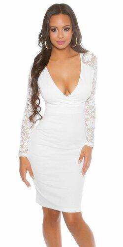 Dámske puzdrové šaty s dlhými čipkovanými rukávmi | Biela