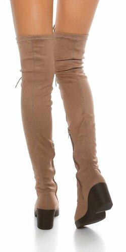 Dámske čižmy nad kolená so šnurovaním