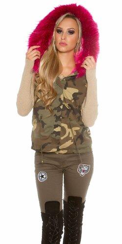 Luxusná dámska maskáčová vesta | Ružová