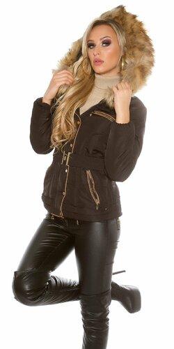 Dámska zimná bunda s opaskom zdobená koženkou