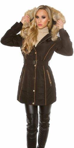 Dámska dlhá zimná bunda (Čierna)
