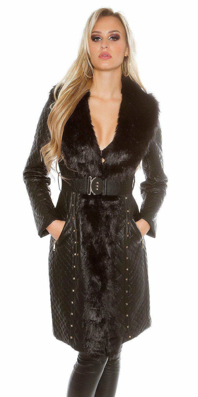 Dámsky čierny kabát koženého vzhľadu s umelou kožušinou a opaskom ... 1cd2e457091