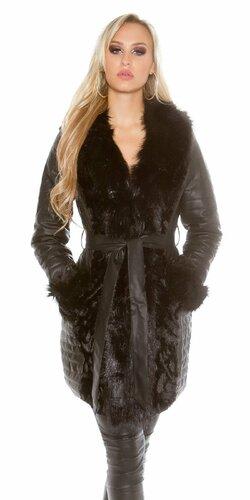 Dámsky dlhý kabát koženého vzhľadu
