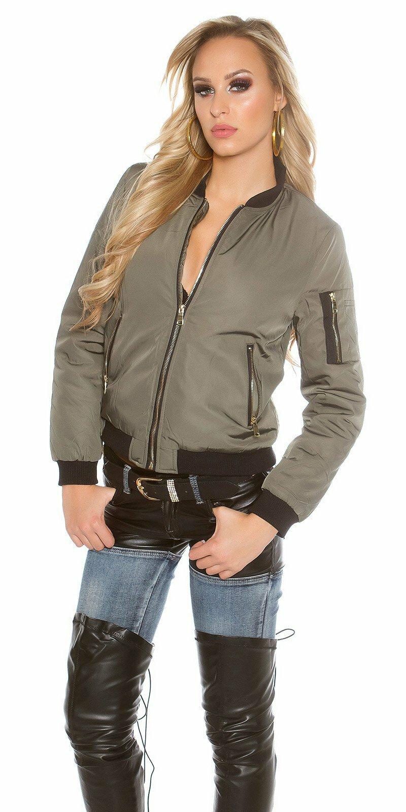 Dámska štýlová jesenná bunda #Veľkosť M Farba Khaky Zľava 40%