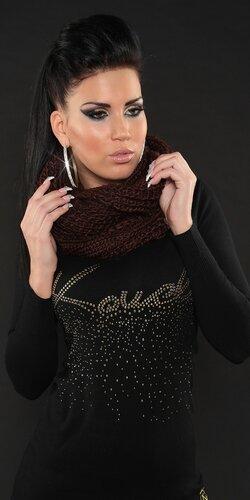 Štýlový pletený dámsky šál jednofarebný Hnedá