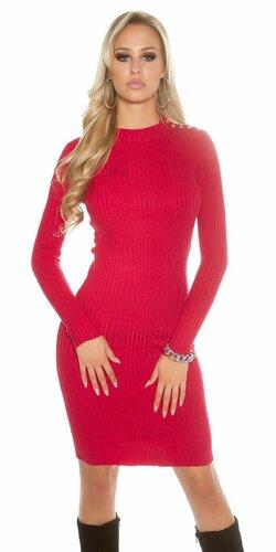Dámske dlhé pletené šaty (Červená)