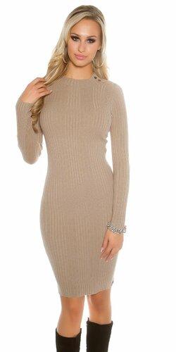Dámske dlhé pletené šaty (Béžová)