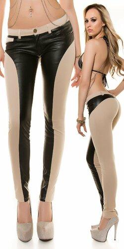 Push up dámske nohavice s koženými prvkami