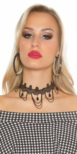 Čierny dámsky náhrdelník