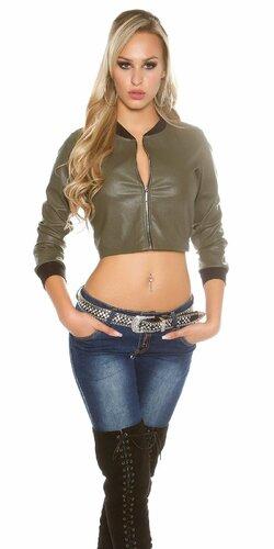 Krátka dámska bunda koženého vzhľadu Khaky
