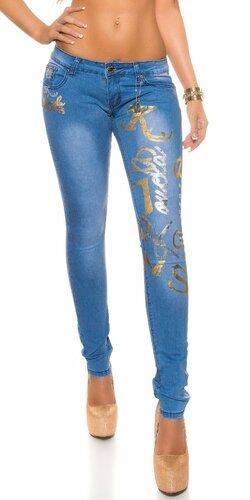 Dámske skinny džínsy s nápismi Modrá