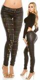 Dámske nohavice koženého vzhľadu so zipsami Čierna