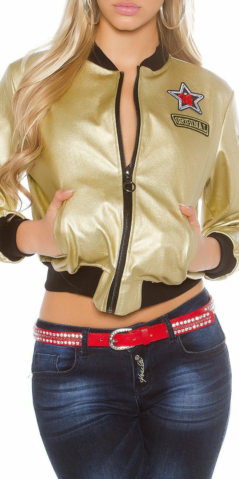 Dámska štýlová bunda #Veľkosť L Farba Zlatá Zľava 40%