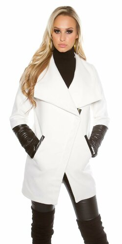 Dámsky kabát KouCla s aplikáciami koženého vzhľadu Biela