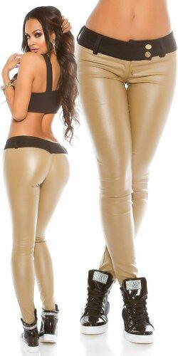 Dámske čierne nohavice koženého vzhľadu KouCla