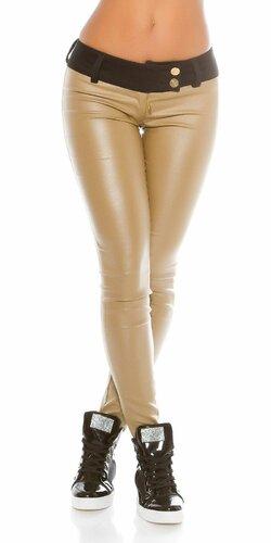 Dámske čierne nohavice koženého vzhľadu KouCla Béžová