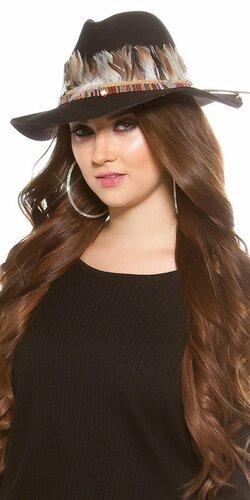 Dámsky klobúk s perím | Čierna