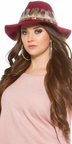 Dámsky klobúk s perím | Bordová