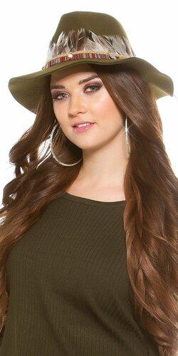 Dámsky klobúk s perím | Khaki