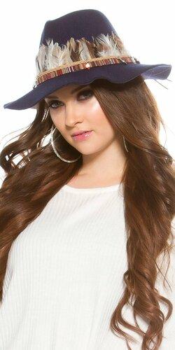 Dámsky klobúk s perím | Tmavomodrá
