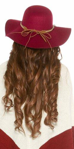 Dámsky klobúk ,,ethno look,, Bordová