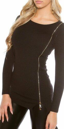 Dámsky pletený sveter so zipsom KouCla Čierna